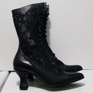 Oak Tree Farms Black Lace Victorian Boots Size 7